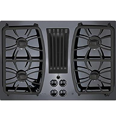 "GE Profile Series 30"""" Built-in Gas Downdraft Cooktop Black Glass Top PGP9830DJBB"