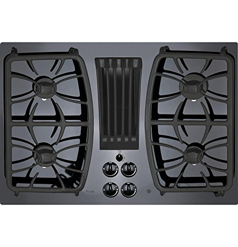 GE APPLIANCES Profile Series 30 inch Built-in Gas Downdraft Cooktop Black Glass Top PGP9830DJBB