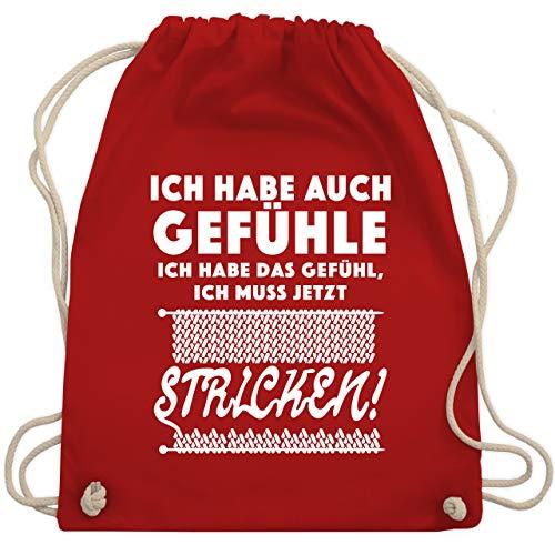 Shirtracer Hobby - Ich habe auch Gefühle. Ich habe das Gefühl, ich muss jetzt stricken! - Unisize - Rot - tasse stricken - WM110 - Turnbeutel und Stoffbeutel aus Baumwolle