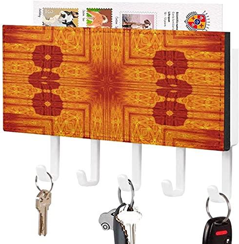 Organizador de sobres para correo de entrada con 5 ganchos para llaves montado en la pared, orquídeas de bellas artes Art Forms of Nature Estante de madera rústica para correo con ganchos para llaves