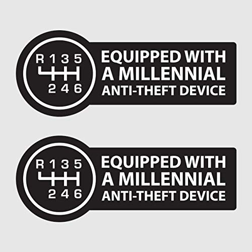 fagraphix Two Pack Equipped with A Millennial Anti-Theft Device Sticker Self Adhesive Vinyl Decal Manual Stick Shift