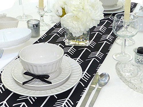 Black & White Table Runner - Arrow Black - All Sizes - Table Linens- Home Decor- Dinner Party, Holiday, Wedding- Linens