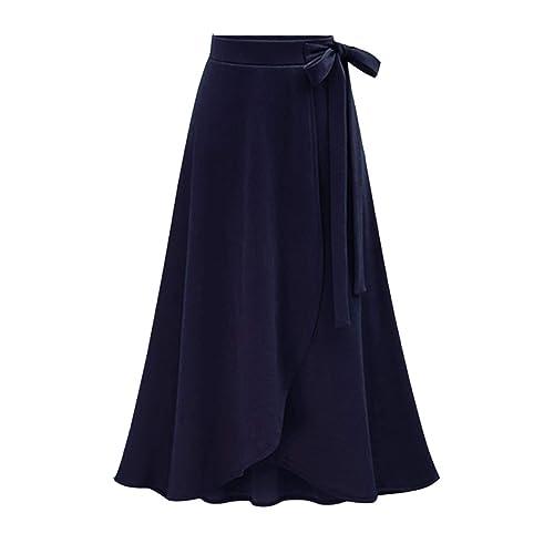 343b7d49d4 Women's Spring Winter Knit High Rise Waist Midi A Line Flare Skirts