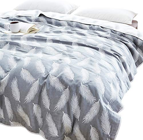 J-pinno Feather Muslin Blanket Reversible Soft 100% Cotton 6 Layer Quilt Bed Blanket Throw Sofa Couch Toddler Kids Cartoon Travel Coverlet Sheet (Feather, F/Q 76' X 88')