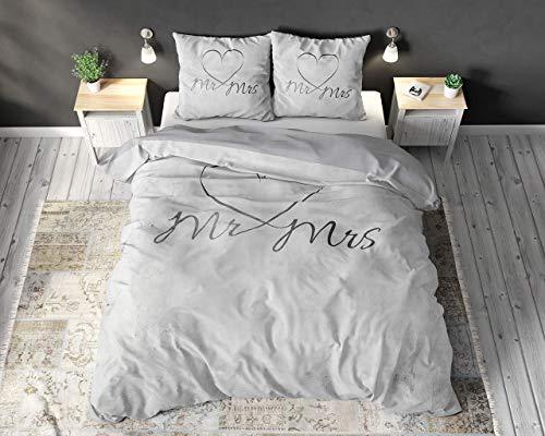 Sleep TIME Partner Bettwäsche Mr. und Mrs. 200cm x 200cm 3teilig Weiß - weich & bügelfrei Bettbezüge mit Reißverschluss - Weiß Bettwäsche Set aus 100% Baumwolle - Verschiedene Designs
