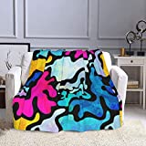 Graffiti Urban Art Pattern Flannel Throw Blanket Camping Covers for Adult Teen Antipilling Comfortable Blanket for All Season for Chair, Ptonuic