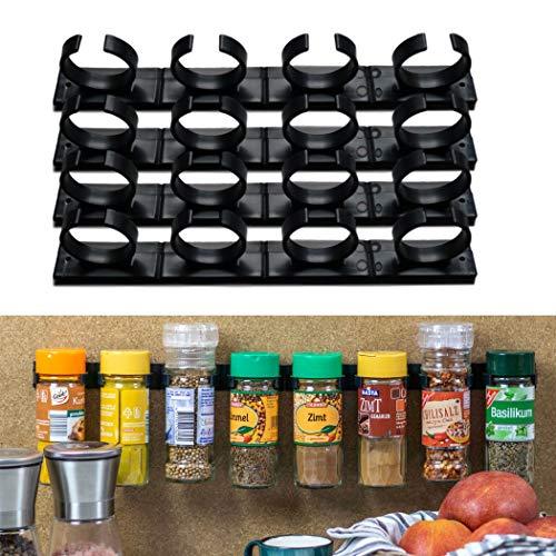 Kruidenrek voor het verlijmen, houder voor 16 kruidenpotjes, montage op keukenkastjes & wandtegels, voor kruidenshakers met 3,3-4,5 cm diameter en 150 gram, 4 x 4 stroken in zwart