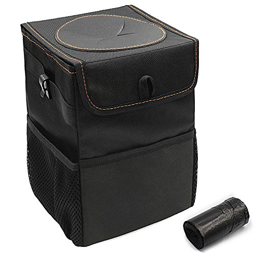 Car Trash Can, Foldable Automotive Garbage Can with Lid and 3 Storage Pockets, Portable Car Accessories - 100% Leakproof Vinyl Inside Lining Car Trash Bin Bonus 30 Counts Disposable Trash Bag