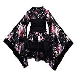 Japanese Traditional Maid Dress Kimono Cosplay Outfit Maid Costume Dress Size M (Black)
