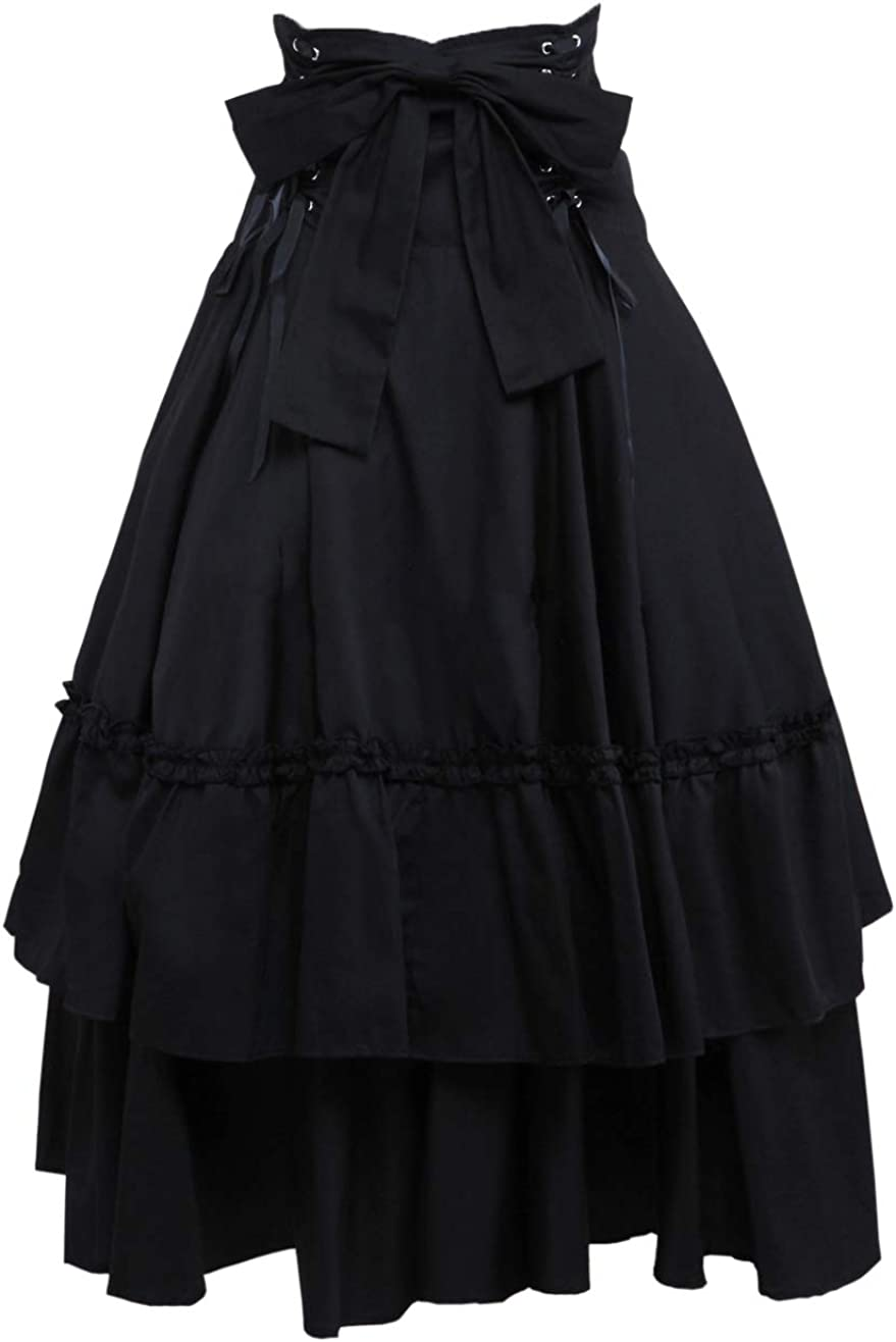 Antaina Black Gothic Vintage Queen High-Waisted Layered Slim Cotton Bottom Skirt