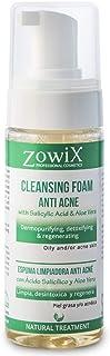 ZOWIX Antiacne en Espuma Limpiadora. Foam purificante suave contra el acne facial. Limpia, desintoxica y ayuda a eliminar espinillas, puntos negros y granos. 150 ml.