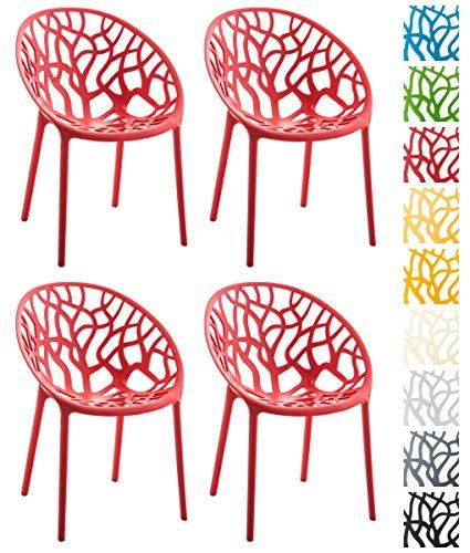 CLP 4er-Set Design-Gartenstuhl Hope aus Kunststoff I 4X Wetterbeständiger Stapelstuhl mit Einer maximalen Belastbarkeit von 150 kg I erhältlich Schwarz
