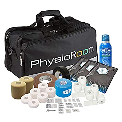 Essential Football First Aid Kit - Premium Showerproof Touchline Ready Run on Medic & Physio Bag - Contains First Aid Supplies, Ice Packs, Deep Freeze Spray, Finger Bandage, Tapes & Strapping from PhysioRoom