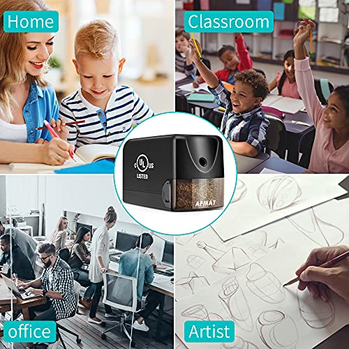 Electric Pencil Sharpener Heavy Duty, AFMAT Pencil Sharpener Electric for Classroom, UL Listed Plug in Pencil Sharpener for 6.5-8mm No.2/Colored Pencils, w/Upgraded Helical Blade(Sharpen 10000 Times) Photo #7