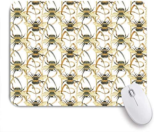 Dekoratives Gaming-Mauspad,Aquarell Hummel und Wiese Pflanze design,Bürocomputer-Mausmatte mit rutschfester Gummibasis