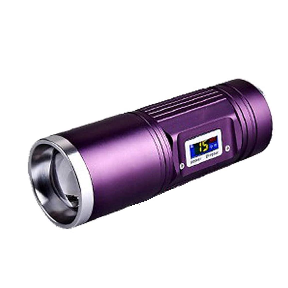 混乱させる分割扱いやすい15W 4灯ナイトフィッシングライト 釣りランプ USB充電 デジタルディスプレイ 調整可能フォーカスサーチライト