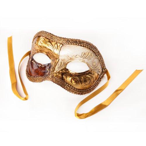 cama24com Venezianische Maske Colombina Gold, Weiß mit Wurzelholz-Optik Palandi®