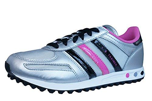 adidas LA Trainer Mädchen Trainer/Schuhe-Silver-28.5