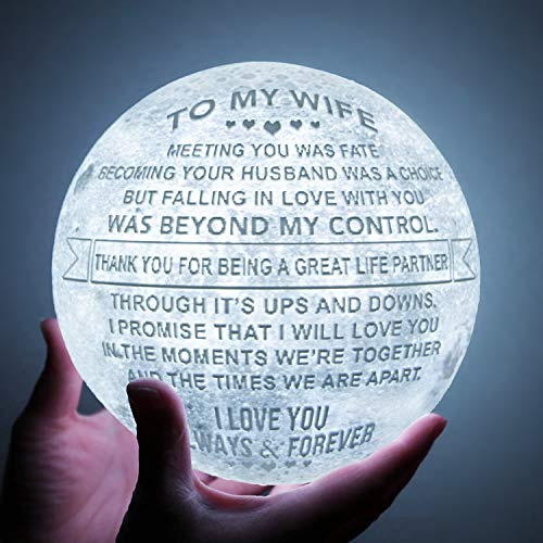 Engraved 3D Moon Lamp for your Wife