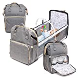 4 in 1 Diaper Bag with Bassinet Changing Station– Multi Purpose Waterproof Convertible Baby Diaper Bag Organizer with Changing Pad Mommy Backpack, Durable, Large Capacity with Toy Bar, Sunshade (Grey)