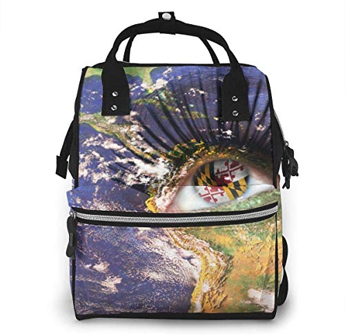Diaper Bag Backpack Travel Bag Large Multifunction Waterproof Womans Face with Planet Earth Texture and Maryland State Flag Inside The Eye. Stylish and Durable Nappy Bag for Baby Care School Backpack