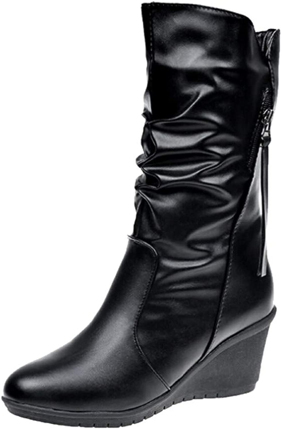 XoiuSyi Women's Leather Zipper Round Toe Pile shoes Wedges Snow Knee High Boot