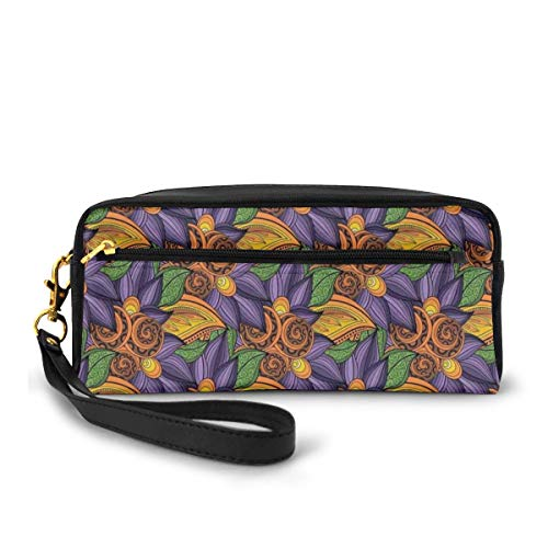 Pencil Case Pen Bag Pouch Stationary,Vibrant Flowers Botany Mother Earth Tropicana Exotic Funky Vibes Pattern,Small Makeup Bag Coin Purse