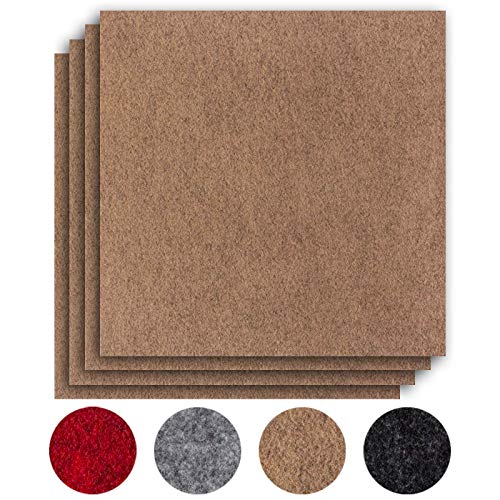 andiamo Teppichfliesen selbstklebend Teppichboden Bodenbelag Nadelfilz Fliese 40 x 40 cm - Set, Farbe:Beige, Größe:4 m²