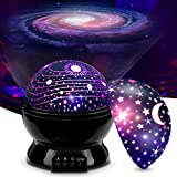 MOKOQI Baby Night Light Lamps for Bedroom ,Romantic Rotating Star with Sky Moon Cosmos 2 Projector Lights Color Changing LED for Kids Girls Boys Baby Nursery Gift(Black-2 Lids)