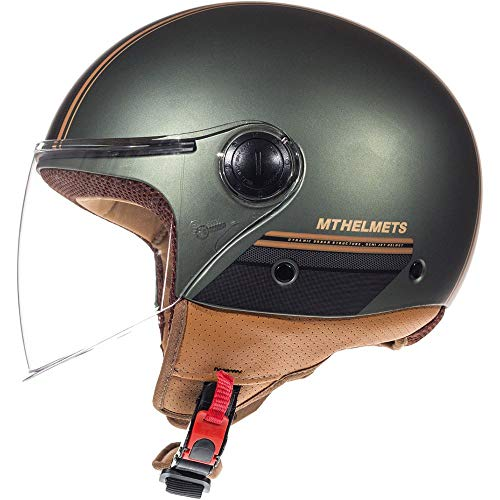 MT Street Jet-Helm Motorrad-Helm Roller-Helm Scooter-Helm Bobber Mofa-Helm Chopper Retro Cruiser Vintage Pilot Biker ECE 22.05 (Enitire Matt Grün, L)