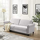 Qero Sofa, Couch for Living Room, Velvet Surface, for Apartment, Small Space, Solid Wood Frame, Metal Legs, Easy Assembly, Mid-Century Modern Design