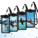 """4 Packs Black Universal Waterproof Case Phone Pouch IPX8 Cell Phone Dry Bag Outdoor Sports for iPhone Pro XS XR XS Max 12 11 10 9 8 7 6 Plus, up to 6.5"""""""