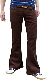 da uomo retrò Marrone Fondo Campana Velluto a coste A zampa vintage 60s Pantaloni