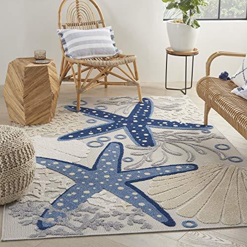 Nourison Aloha Indoor/Outdoor Rug Nautical Beach Blue Grey (5'x7')