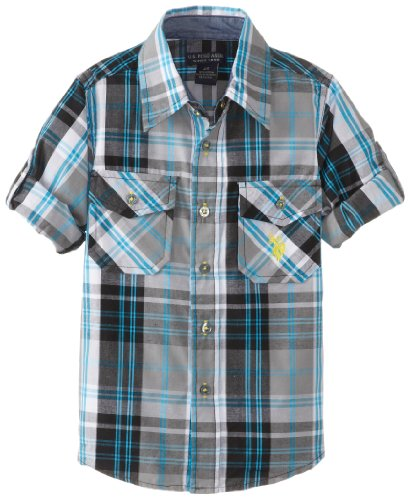 U.S. Polo Assn. Little Boys' Long Sleeve Plaid Shirt, Dark Grey, 4