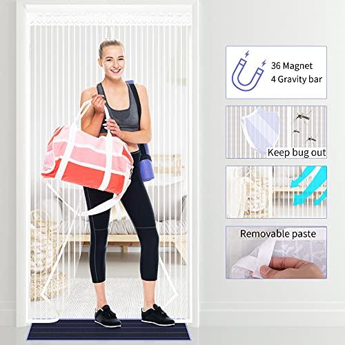 Purejoy Cortina magnética para Puerta contra Mosquitos e Insectos 90cm x 210cm, Cortina magnética de Malla Suave para Verano, Blanco