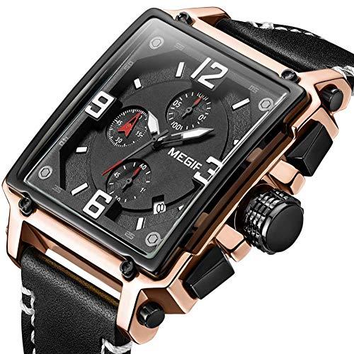 huijiaba - Reloj mecánico automático para Hombre con Correas Impermeables, Correa de Silicona de Piel Suave, Calendario de Mantenimiento de Tiempo multifunción