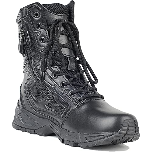 HHMacro Men's Leather Black Trekking and Hiking Boots Military Army Tactical Combat Boots Walking Side Zip Work Shoes,Black- US7/UK6/EU40