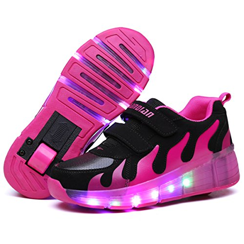 SRD-LED Luz Moda Aire Libre Parpadea Ajustable Rueda Roller Automática de Skate Zapatillas con Ruedas Zapatos Patines Deportes Zapatos Sneakers Running Shoes para Unisex Niños Niñas Boys Girls Gift