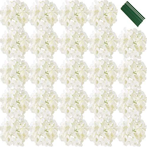 FagusHome 7 Zoll Seide Hortensie Köpfe Künstliche Blumen Köpfe mit Stielen Gefälschte Hortensien Blumen für Home Wedding Decor, Packung mit 25 Stück (Weiß)