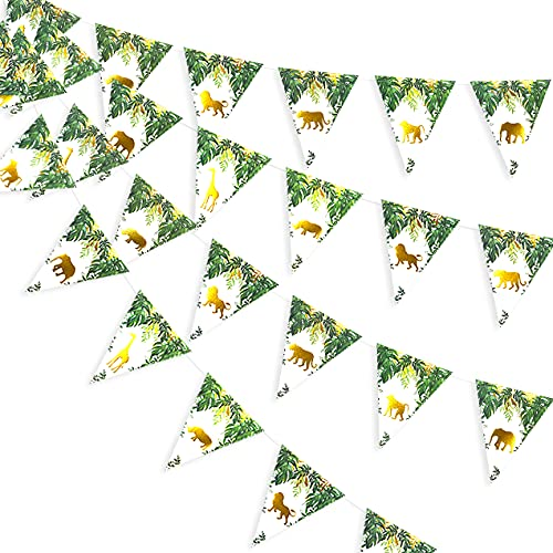 36 Feet Jungle Safari Animal Pennant Banner Paper Triangle Bunting Garland Zoo Themed Baby Shower Boys Girls Wild One First Birthday Party Supplies Decorations(Gold and Green)