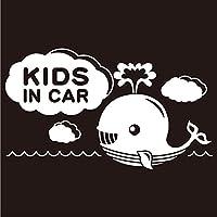 imoninn KIDS in car ステッカー 【シンプル版】 No.33 クジラさん (白色)