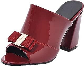 FANIMILA Womens High Heels Slides Sandals Peep Toe Mules Bow Shoes