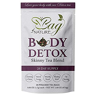 Body Detox by Bag of Nature - Skinny Tea Blend, Supports Fat Burning and Healthy Weight Loss, Promotes Gut Health and Bloating Relief for Men and Women - 28-Day Supply from Bag Of Nature