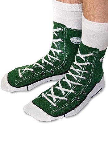 Sneaker Baseball Socken - Silly Socks im Sneakers Turnschuhe Stil (Grün)