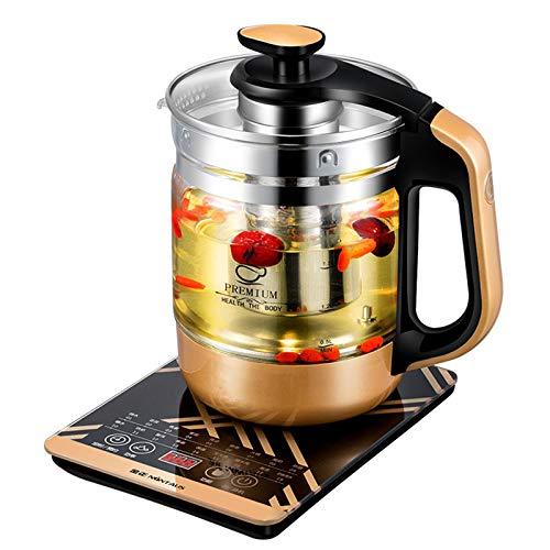 Teekocher elektrisch Glas Gesundheitstopf Wasserkocher, Blumenteekanne, Teemaschine mit Sieb Warmhaltefunktion