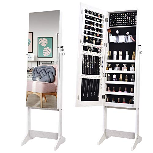 OUTDOOR DOIT Jewelry Organizer Jewelry Cabinet Standing Jewelry Box with Full Body Mirror and Large Storage Lockable Wooden Cabinet (White)