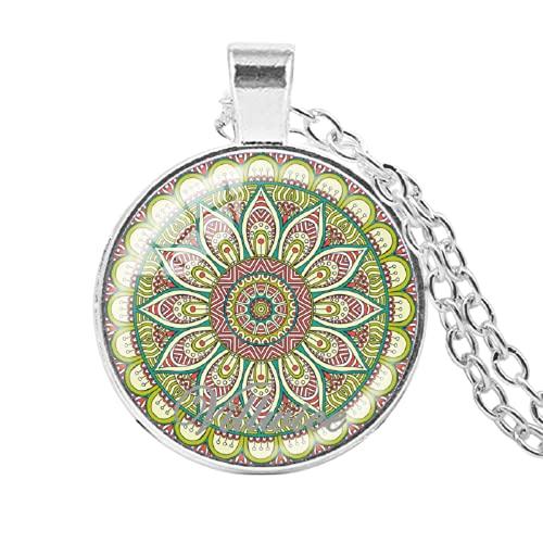 India Mandala flor collar arte imagen cabujón colgante gargantilla geometría sagrada mandala joyería Zen regalos 2018