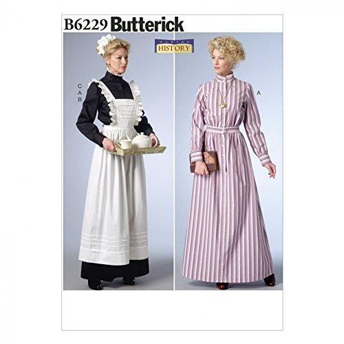 Schmetterling Schnittmuster 6229 Historisches Kleid, Schürze und Kopfbedeckung, Kostüm