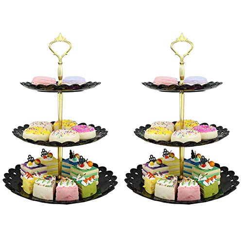 LIONWEI LIONWELI 3-tier Black Gold Plastic Dessert Stand Pastry Stand Cake Stand Cupcake Stand Holder Serving Platter for Party Wedding Home Decor-Large-set of 2